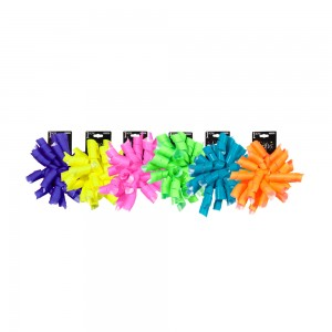 Neon Matte Curly Swirl Bows; 6 Bows Assorted