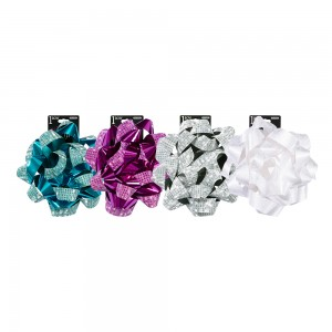 Glitter Printed Star Bows; 4 Bows Assorted