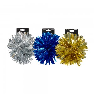 "1pc Embossed 5"" Fireworks Tinsel Bow; 3 Bows Assorted"