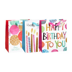 Large Shine Birthday Gift Bags (210 GSM, Hot Stamp); 3 Bag Assortment