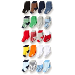 Little Me Baby Boys' 20 Pack Anklet Socks, Assorted; 0-12 Months/ 12-24 Months