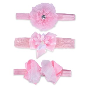 Little Me Infant Girls' 3pc Pink Head Wrap Set