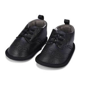 Little Me Infant Boys' Black Pebbled Wingtip Shoes; 6-9 Months