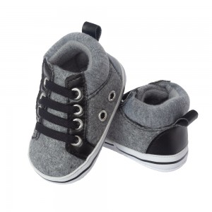 Little Me Dark Grey Baby Boy High Top Sneakers; Assorted Sizes, 0-6, 6-9 & 9-12 Months