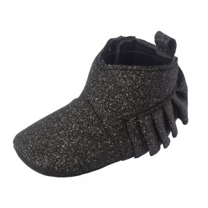 Little Me Black Glitter Baby Girl Boots; Assorted Sizes, 0-6, 6-9 & 9-12 Months