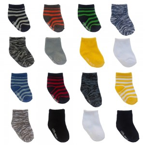 Little Me 16pk Baby Boys Socks, Stripes, Space Dye & Solid Pattern; 8 Pairs 0-12 M & 8 Pairs 12-24M