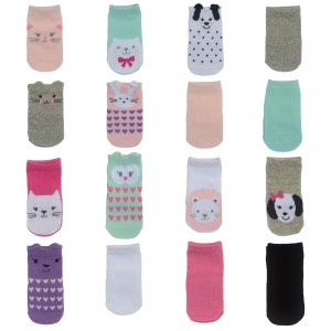 Little Me 16pk Baby Girls Socks, Animal Theme & Solid Colors; 8 Pairs 0-12M & 8 Pairs 12-24M